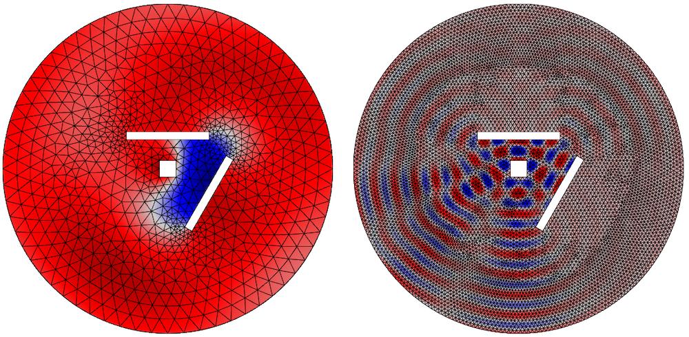 显示不同频率和网格的瞬时压力的并排图。