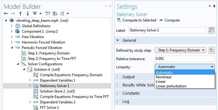 如何选择模型中的线性属性的屏幕截图设置。
