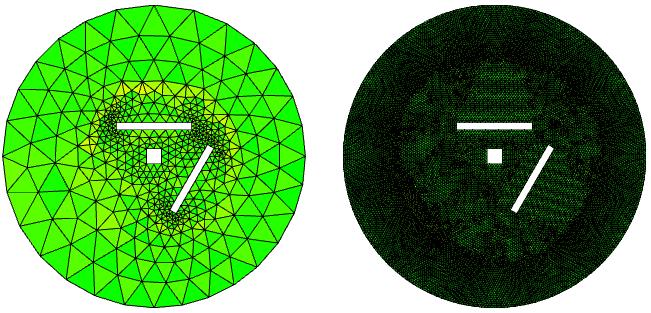 声学仿真两个频带的网格单元质量的并排图。