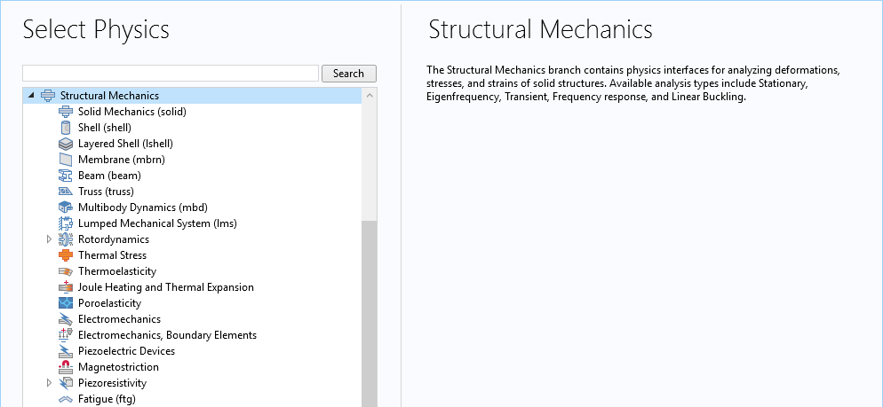 A screenshot showing the structural mechanics interfaces in COMSOL Multiphysics®.