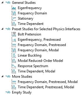 显示可用研究类型的屏幕截图 COMSOL Multiphysics® 中的固体力学界面。