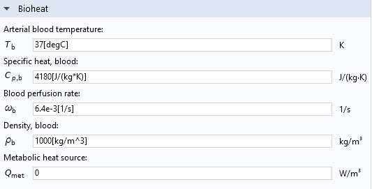 A screenshot of the Settings window for the Bioheat feature used to model heat transfer in biological tissue.