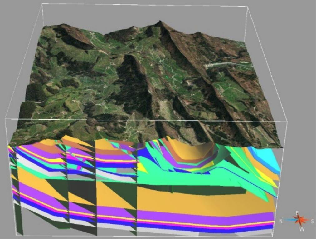 在 GOCAD 软件中模拟的复杂地质三维模型
