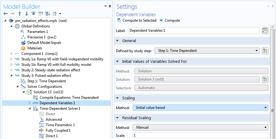 A screenshot of the dependent variable settings with Initial value based selected.