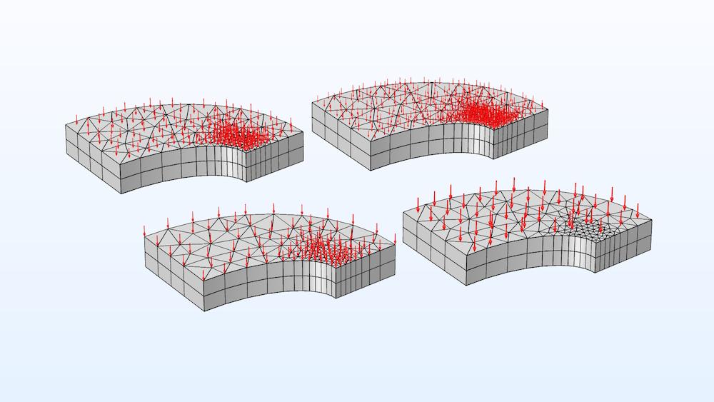 该图显示了箭头放置的变化,其中载荷作用于特定类型的网格。