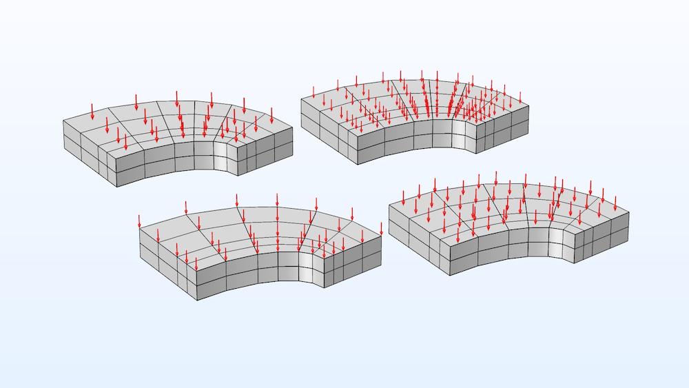 """该图像显示高斯点和""""网格""""节点的不同箭头放置类型。"""