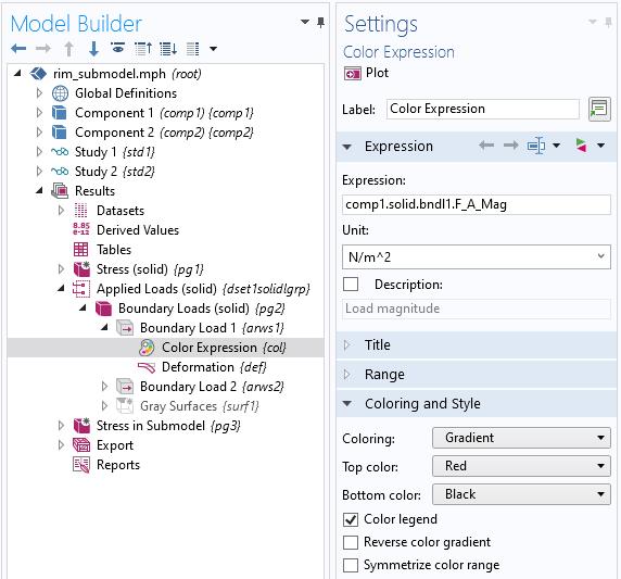 """""""模型构建器设置""""窗口中的""""颜色表达式""""节点的屏幕快照。"""