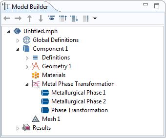 如何在模型开发器窗口添加金属相变接口及响应节点