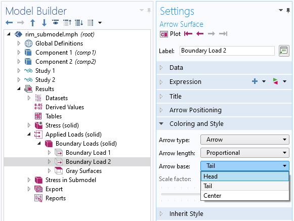 """""""模型构建器""""设置的屏幕快照,显示了如何更改箭头基的位置。"""