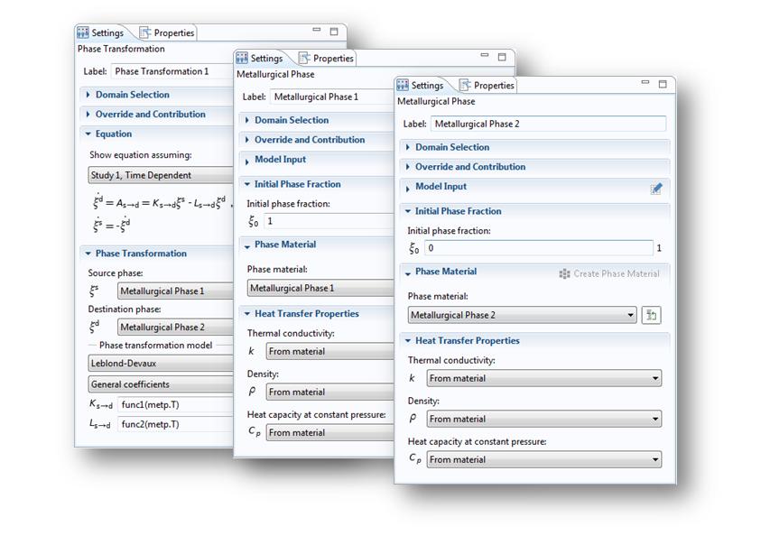 COMSOL Multiphysics® 中设置窗口的屏幕截图,用于使用 Leblond-Devaux 模型的相变设置。