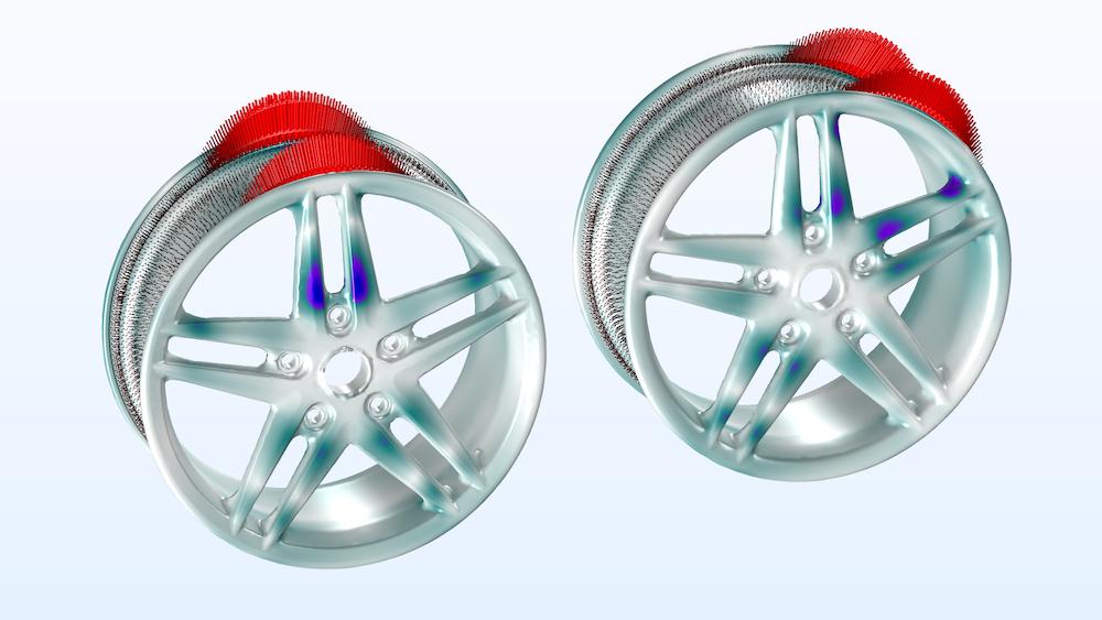 对于两个描述负载旋转参数的值,在车轮轮辋上绘制的负载图像以及应力分布图。