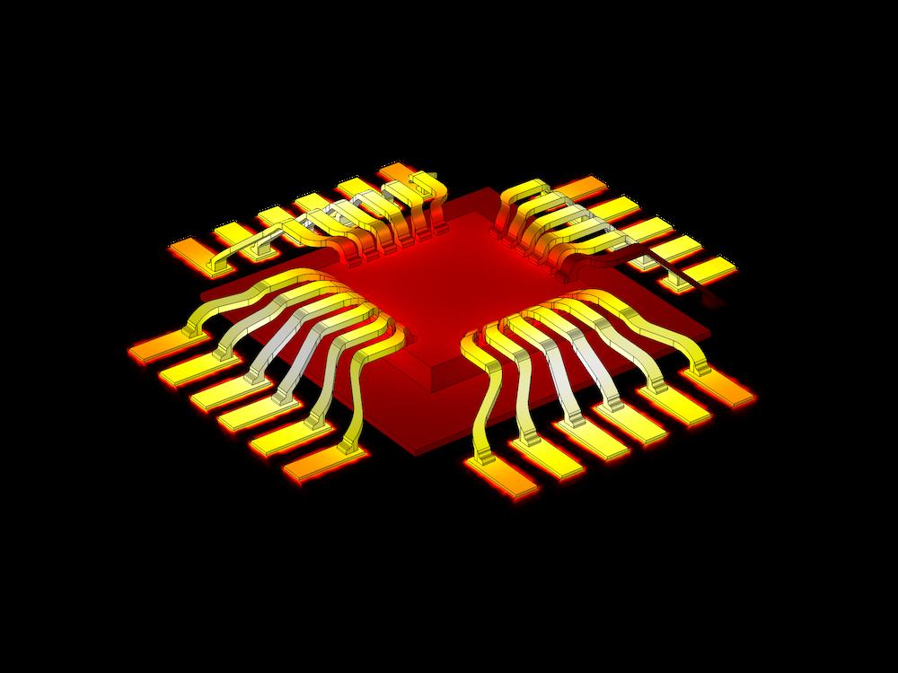 晶片上的键合导线上的焦耳加热图。