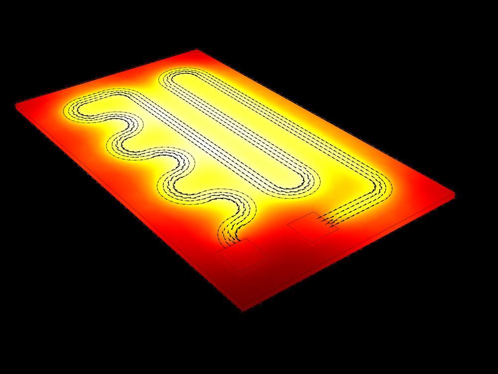 使用COMSOLMultiphysics®中的焦耳加热界面的电阻设备模型图。