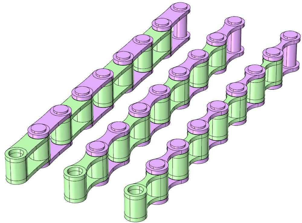 三个并排图像显示了带有不同形状侧板的滚子链几何形状