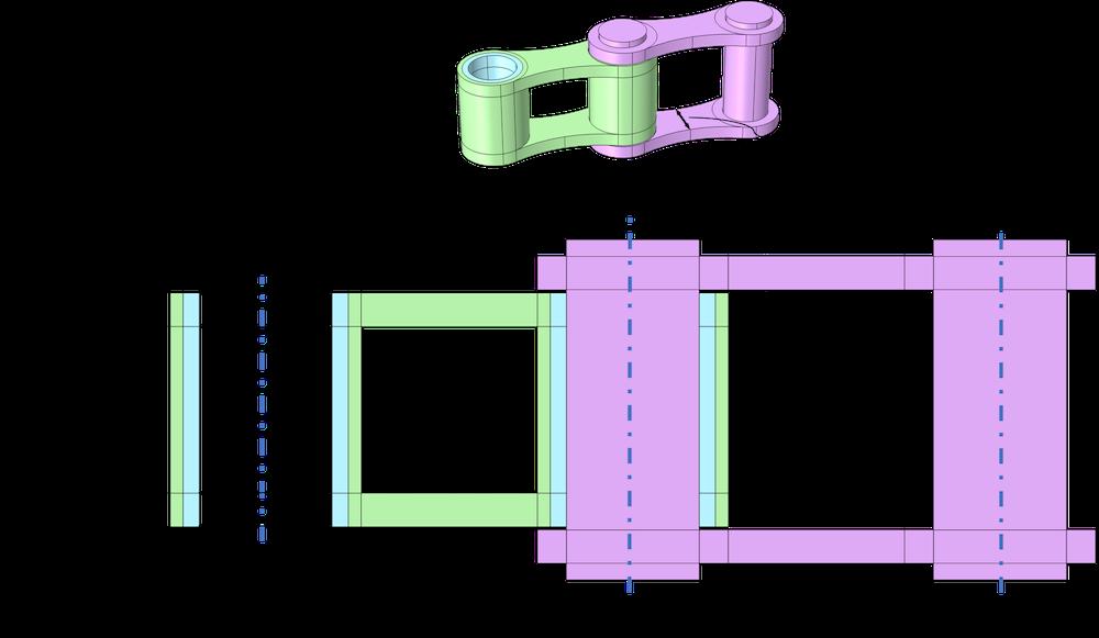 带有输入参数标记的滚子链单元的示意图