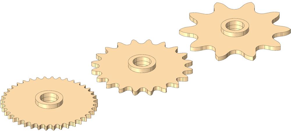 带有齿数不同的链轮的三个并排图像