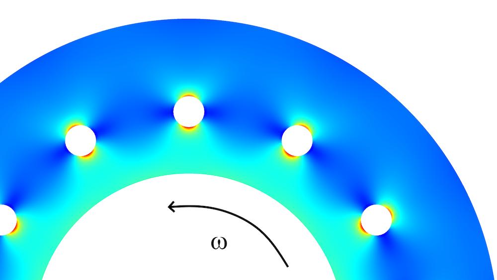 离心机的局部模拟图以及 von Mises 应力分布,其中载荷是由离心力引起的。
