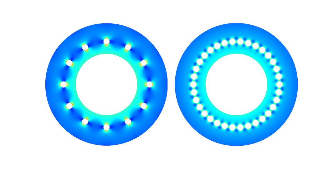 带有 12 个孔和 34 个孔的离心机 von Mises 应力比较。