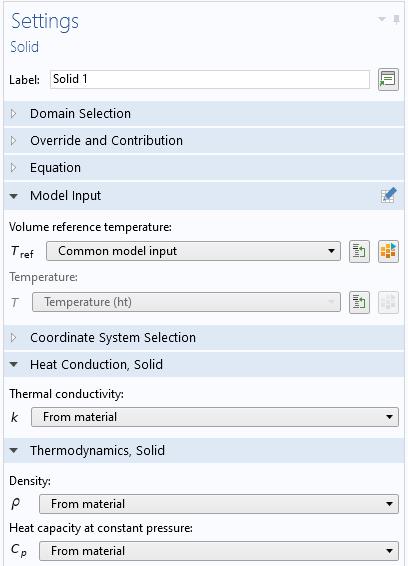 固体传热所需的所有物理量均来自材料库