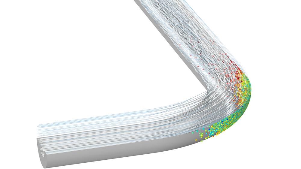 显示管道弯头中粒子流的模型的图像。