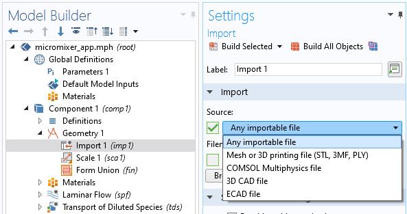 导入设置窗口,带有选择导入任何可导入文件的选项。