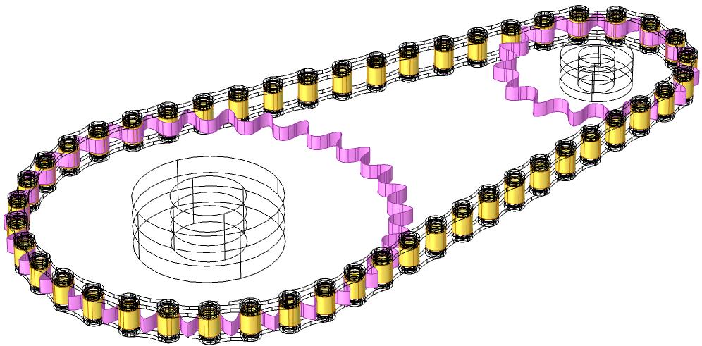 滚子链几何模型,突出显示了滚子和链轮之间的接触对。