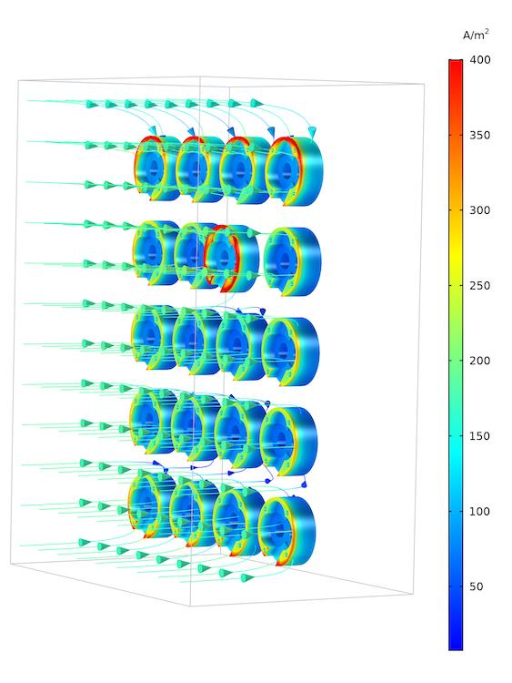 使用 COMSOL Multiphysics® 模拟的挂具工件中的电流密度分布图