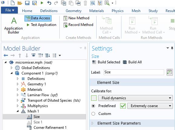 """应用程序构建器中数据访问按钮的屏幕快照,用于允许访问称为""""预定义""""的元素大小属性。"""