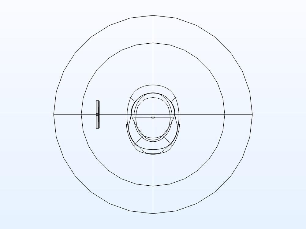 模型域的图像,其中完美匹配层突出显示,并且移除了一半视图以显示内部结构。