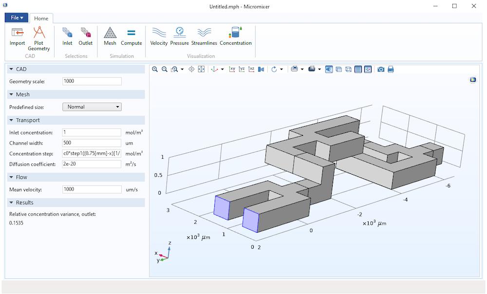 通过添加到应用程序的CAD导入功能以交互方式应用带有入口边界条件的微型混合器模型几何