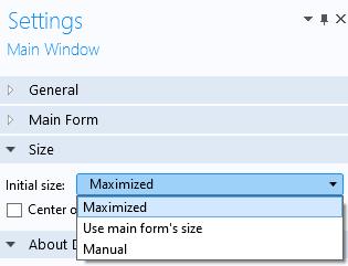 """打开""""初始大小""""选项的""""主窗口设置""""窗口的屏幕快照。"""