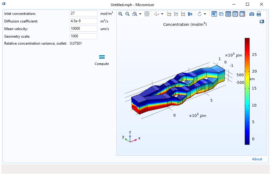 微混合器仿真 App 是在第一次设计迭代中内置于 COMSOL Multiphysics 的仿真开发器中。