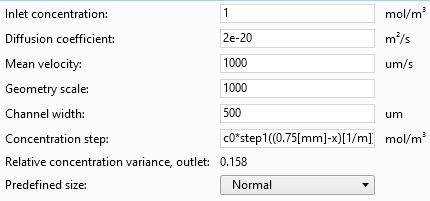 微型混合器模型的输入参数图表,包括入口浓度,扩散系数等