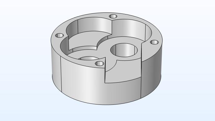 单个机油泵盖几何形状的特写视图