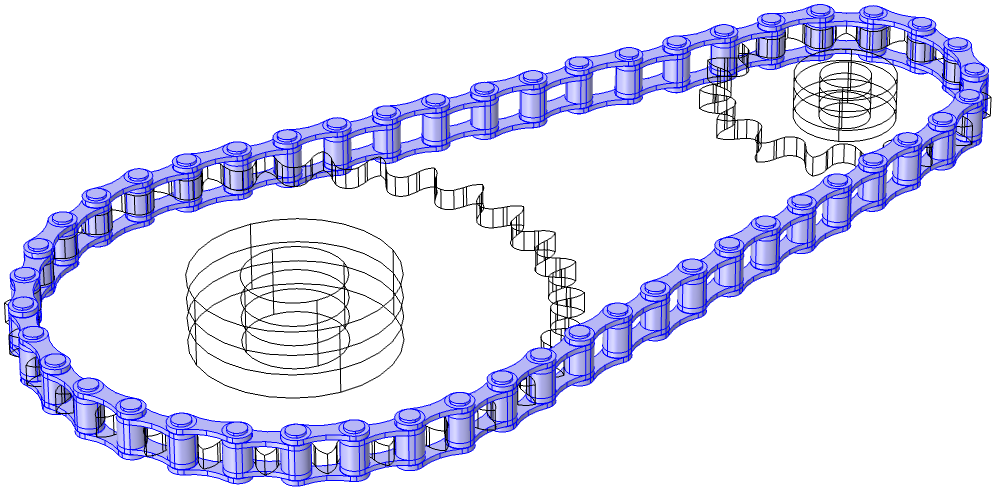 An image showing all of the link plates selected in a model when creating Rigid Domain nodes.