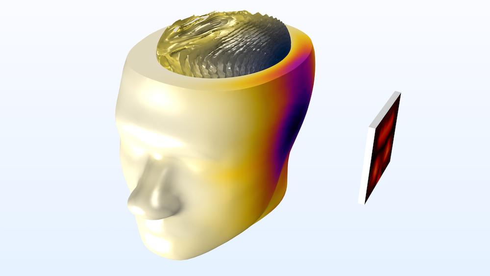 该图显示了人体头部和微带贴片天线的建模域