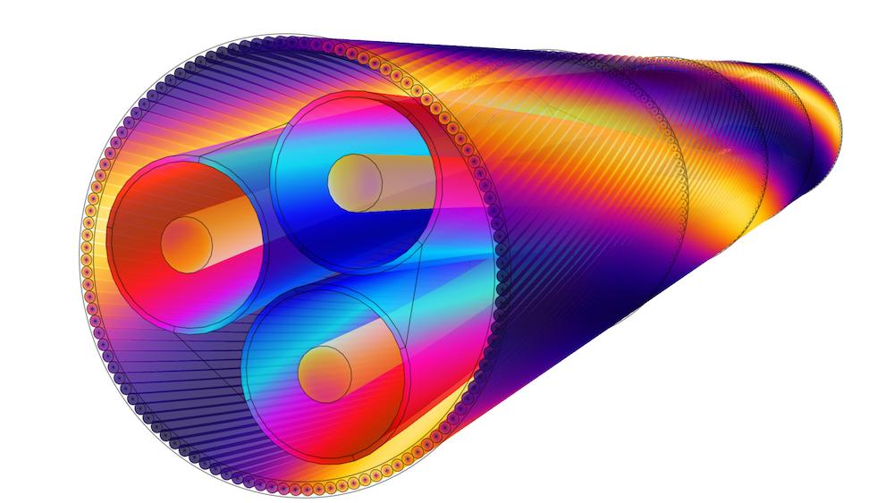 在 COMSOL Multiphysics 中建模的海底电缆,显示了电阻和磁损耗密度