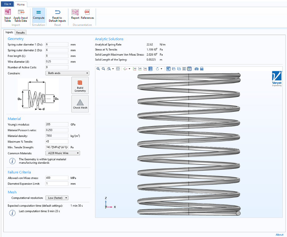 The user interface for the helical spring simulation app built by Veryst, which has inputs for the spring geometry and materials.