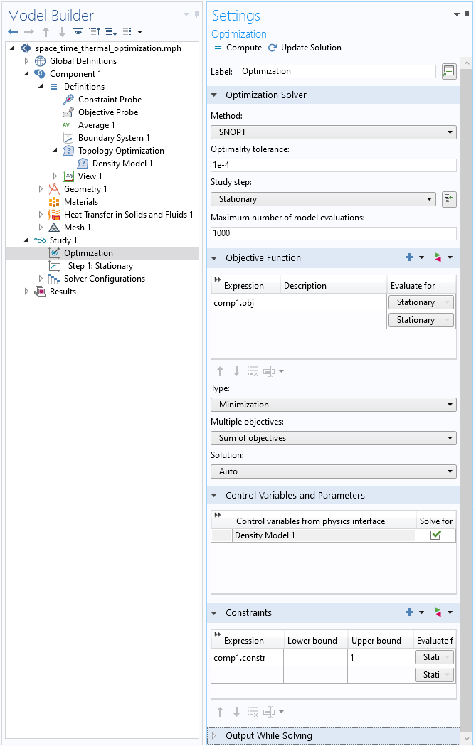 A screenshot of the Settings window for the Optimization study step.