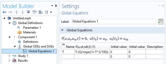 "COMSOL Multiphysics中的""全局方程式设置""窗口演示了如何使用nojac()运算符。"