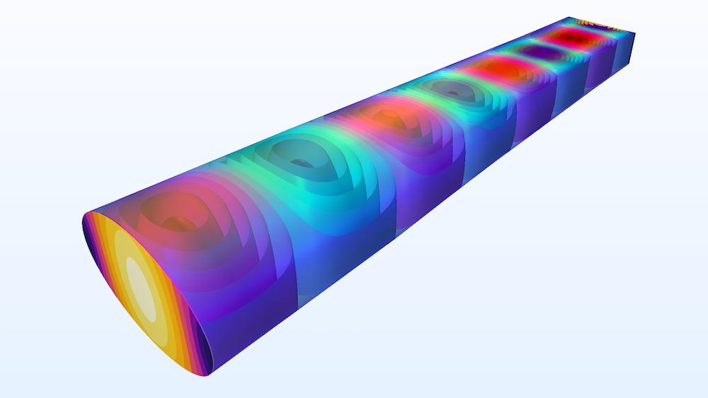 矩形到椭圆波导过渡中电场 x- 分量的等值面图