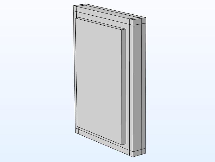 用于通过混凝土墙模拟 STL 的模型的三维视图。