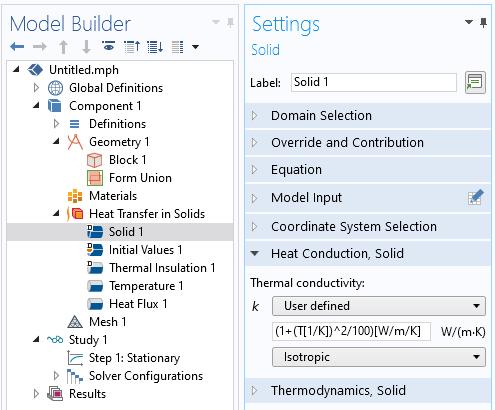 """固体传热界面的""""设置""""窗口具有手动定义的导热系数设置。"""