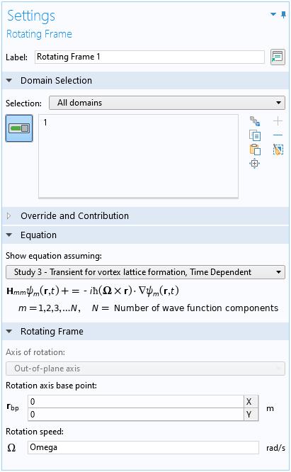 "COMSOL Multiphysics 中""旋转框架""功能的""设置""窗口的屏幕快照。"