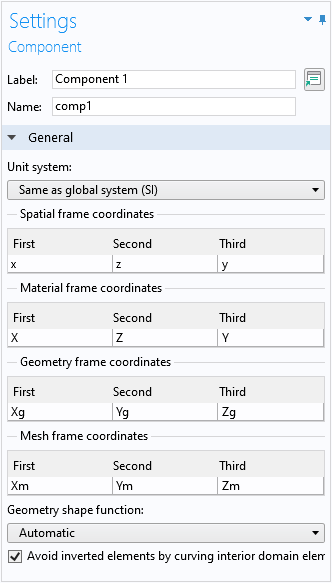 A screenshot of the settings in COMSOL Multiphysics showing how to change the coordinate name for the second axis from the default.