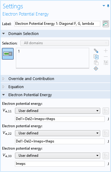 A screenshot of the Settings window for the Electron Potential Energy domain condition.