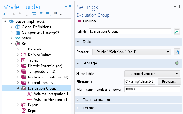 A screenshot of the Evaluation Group node opened to the settings that specify writing numerical data to a file.