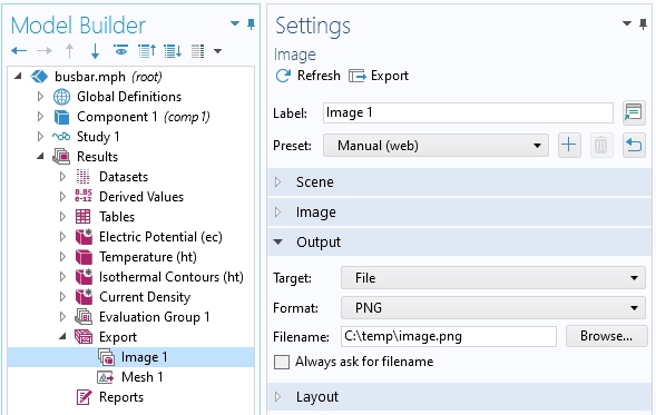 A screenshot of the COMSOL Multiphysics model tree with the Results node opened to the Export branch and the image export settings opened.