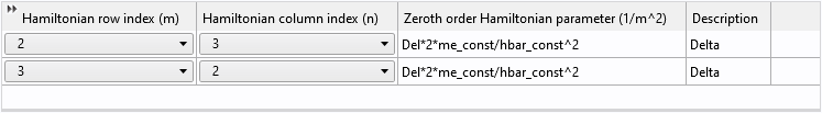 A screenshot of the Hamiltonian input table for the zeroth-order elements.