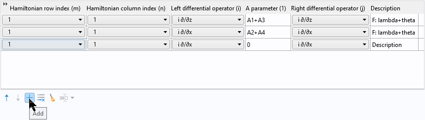 A screenshot of a row of values with an Add button highlighted at the bottom of the screen.